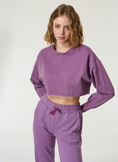 NGSTYLE Kadın Crop  Sweatshirt NGKSS21SW0021 Mor